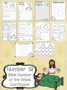 Number 18 Jesus Heals the Sick Printable Bible Worksheets.  Number of the Week