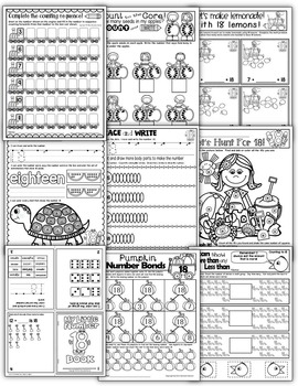 Number 18 Math Worksheets-NO PREP (KG EDITION)-Counting and Cardinality CCSS