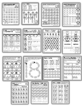 Number 18 Math Worksheets-NO PREP (PRE-KG EDITION)-Counting and Cardinality CCSS