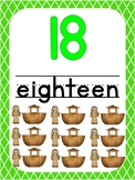 Number 18 Printable Bible Number Poster. Preschool-Kindergarten Numbers.