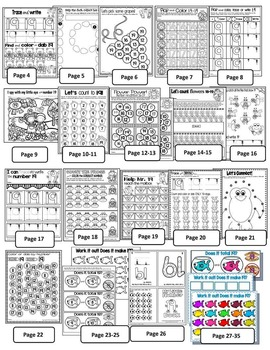 Number 19 Math Worksheets-NO PREP- DIFFERENTIATED-PRE-KG AND KG