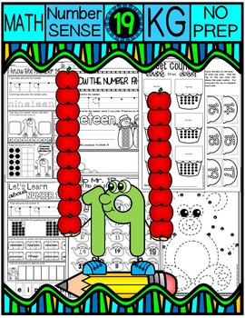 Number 19 Math Worksheets-NO PREP (KG EDITION)-Counting and Cardinality CCSS