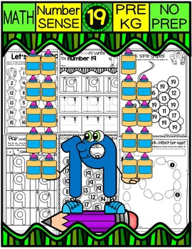 Number 19 Math Worksheets-NO PREP (PRE-KG EDITION)-Counting and Cardinality CCSS