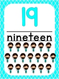 Number 19 Printable Bible Number Poster. Preschool-Kindergarten Numbers.