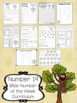 Number 19 Zacchaeus in the Tree Printable Bible Worksheets.  Number of the Week