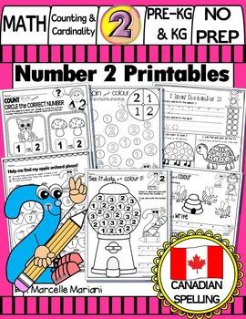 Number 2 Math Worksheets-NO PREP- CANADIAN SPELLING