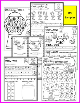 Number 2 Math Worksheets-NO PREP- Counting and Cardinality CCSS