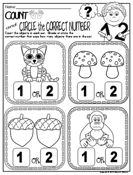Number 2 Math Worksheets-NO PREP (PRE-KG EDITION)- Counting and Cardinality CCSS