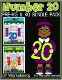 Number 20 Math Worksheets-NO PREP- BUNDLE PACK, CCSS