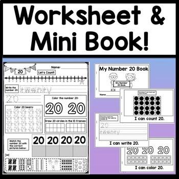 Number 20 Worksheet and Number 20 Activities!  {Number of the Day Kindergarten}