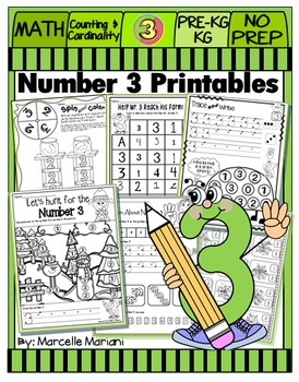 Number 3 Math Worksheets-NO PREP- Counting and Cardinality CCSS