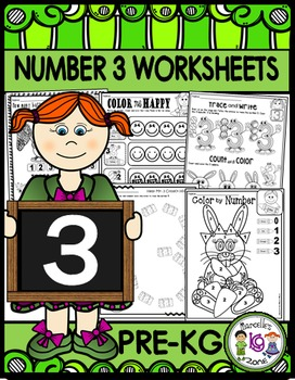 Number 3 Math Worksheets-NO PREP (PRE-KG EDITION)- Counting and Cardinality CCSS