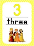 Number 3 Printable Bible Number Poster. Preschool-Kindergarten Numbers.