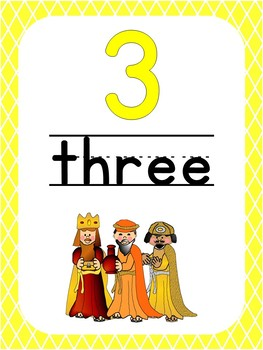 Number 3 Printable Bible Number Poster. Preschool-Kindergarten Numbers.