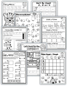 Number 4 Math Worksheets-NO PREP- CANADIAN SPELLING