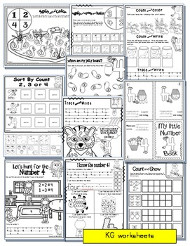 Number 4 Math Worksheets-NO PREP- Counting and Cardinality CCSS
