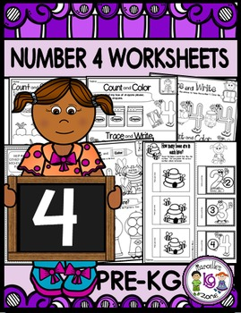 Number 4 Math Worksheets-NO PREP (PRE-KG EDITION)- Counting and Cardinality CCSS