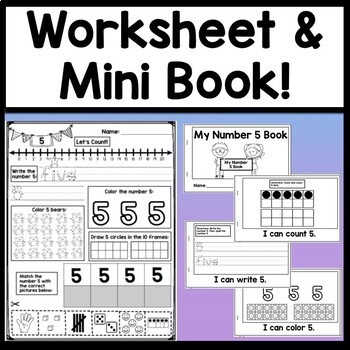Number 5 Mini Bundle {Number 5 Worksheet and Six Number 5 Activities!}