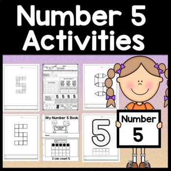 Number 5 Worksheet and Number 5 Activities! {Number of the Day Kindergarten}