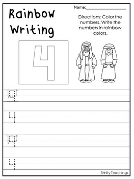 Number 4 Abraham and Sarah Printable Bible Worksheets. Bible Number of the Week.