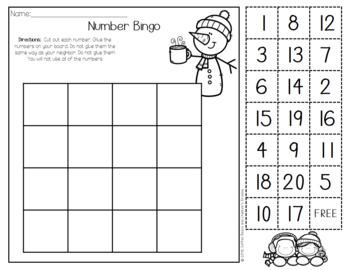 Number Identification Bingo-January