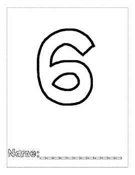Number 6 Color and Trace Number Book