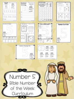 Number 5 Isaac and Rebekah Printable Bible Worksheets. Bible Number of the Week.