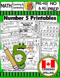 Number 5 Math Worksheets-NO PREP- CANADIAN SPELLING