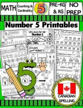 Number 5 Math Worksheets-NO PREP- CANADIAN SPELLING