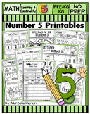 Number 5 Math Worksheets-NO PREP- Counting and Cardinality CCSS