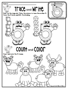 Number 5 Math Worksheets-NO PREP (PRE-KG EDITION)- Counting and Cardinality CCSS