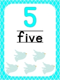Number 5 Printable Bible Number Poster. Preschool-Kindergarten Numbers.
