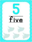 Number 5 Printable Bible Number Poster. Preschool-Kindergarten Numbers.