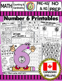 Number 6 Math Worksheets-NO PREP- CANADIAN SPELLING
