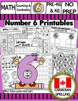 Number 6 Math Worksheets-NO PREP- CANADIAN SPELLING