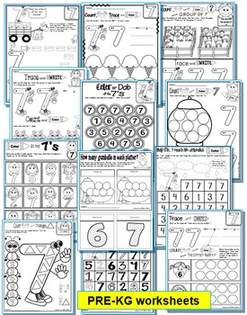 Number 7 Math Worksheets-NO PREP- Counting and Cardinality CCSS