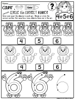 Number 6 Math Worksheets-NO PREP (PRE-KG EDITION)- Counting and Cardinality CCSS