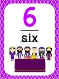 Number 6 Printable Bible Number Poster. Preschool-Kindergarten Numbers.