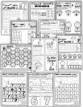 Number 7 Math Worksheets-NO PREP- CANADIAN SPELLING