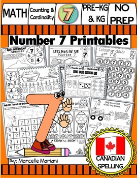Number 7 Math Worksheets-NO PREP- CANADIAN SPELLING