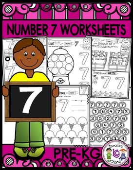 Number 7 Math Worksheets-NO PREP (PRE-KG EDITION)- Counting and Cardinality CCSS
