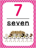 Number 7 Printable Bible Number Poster. Preschool-Kindergarten Numbers.