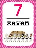 Number 7 Printable Bible Number Poster. Preschool-Kindergarten Numbers.