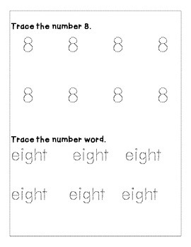 Number 8 Color and Trace Number Book
