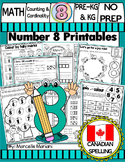 Number 8  Math Worksheets-NO PREP- CANADIAN SPELLING
