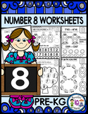 Number 8  Math Worksheets-NO PREP (PRE-KG EDITION)-Counting and Cardinality CCSS