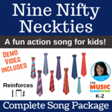 """Number 9 Action Song   """"Nine Nifty Neckties""""   Complete Song Package"""