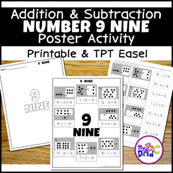 Number 9 Add and Subtract Math Poster Activity