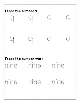 Number 9 Color and Trace Number Book