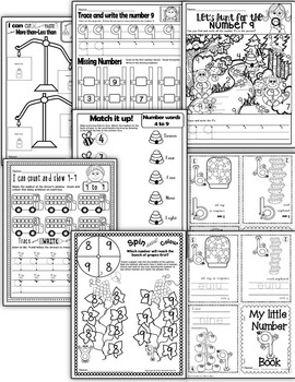 Number 9  Math Worksheets-NO PREP- CANADIAN SPELLING